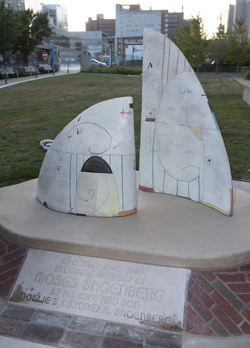 'Full Sail' sculpture, which features two large sails representing the past and future of nursing.