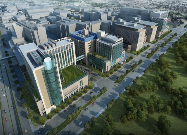 An artist's rendering of the new buildings on Barnes-Jewish Hospital's campus