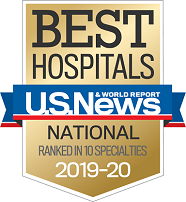 2019 U.S. News & World Reports Best Hospitals Badge - Ranked in 10 specialties